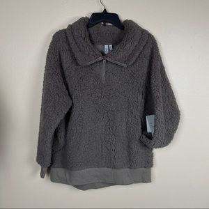 NWT Zella teddy fuzzy pullover size large stone